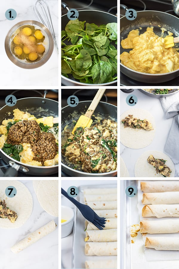 step by step collage of how to make Breakfast Lentil Taquitos