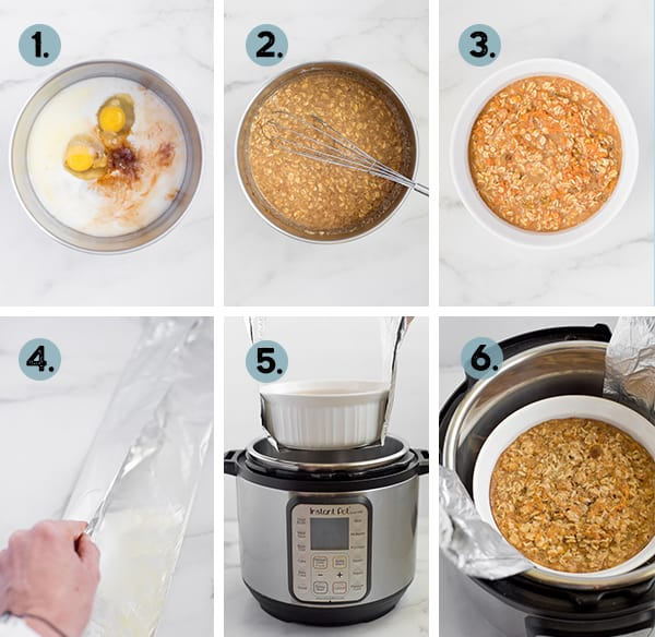 step by step collage of how to make carrot cake oatmeal