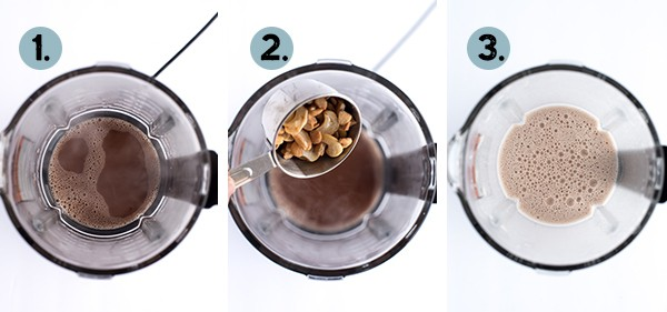 step by step collage of how to make cashew crio bru