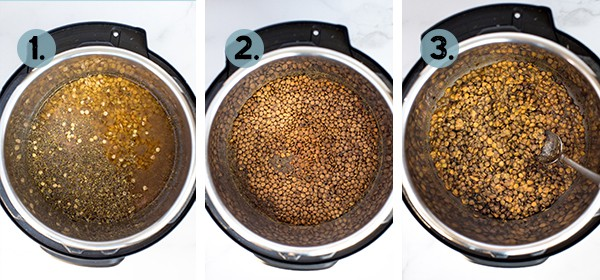Step by step collage of how to make Instant Pot Lentils