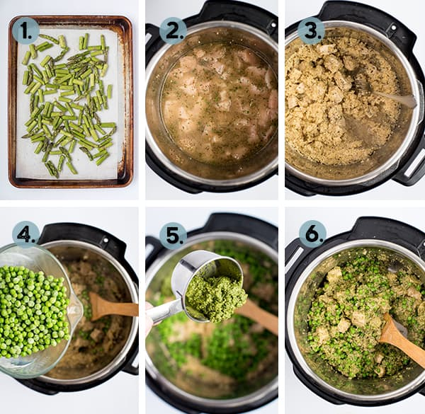 step by step collage of how to make pesto chicken and quinoa