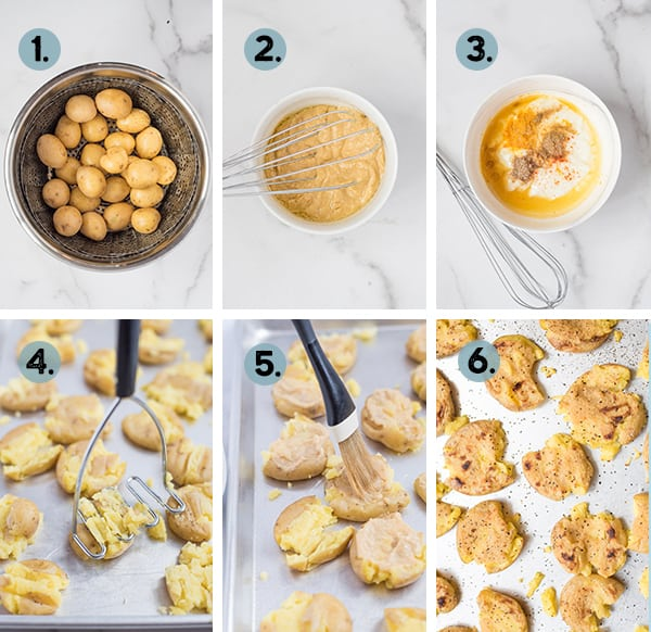 step by step collage of how to make instant pot smashed potatoes