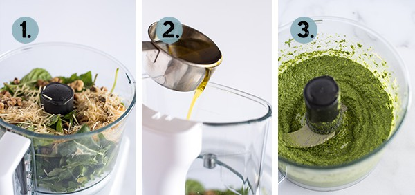 step by step collage of how to make pesto in a food processor