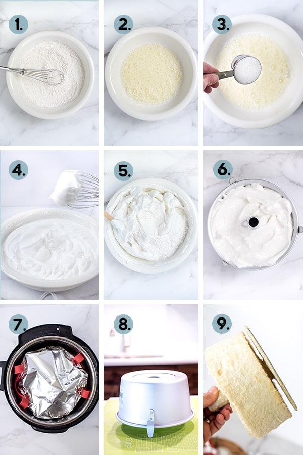 step by step collage of how to make instant pot angel food cake