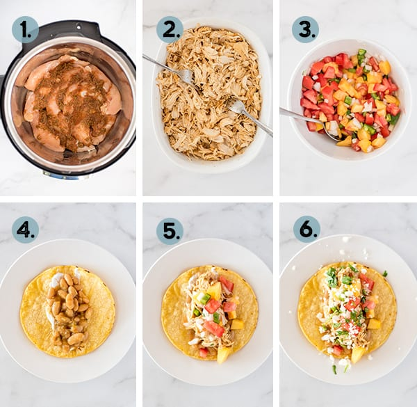 step by step collage of how to make chili lime chicken in the instant pot