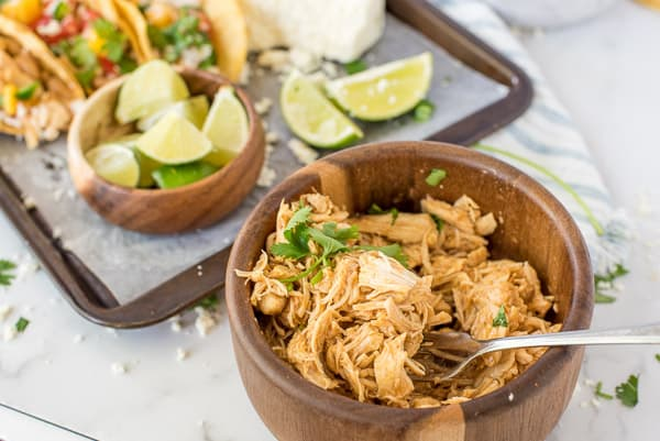 wood bowl with chili lime chicken inside