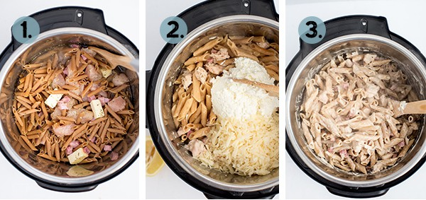 step by step collage of how to make chicken cordon bleu pasta in the instant pot