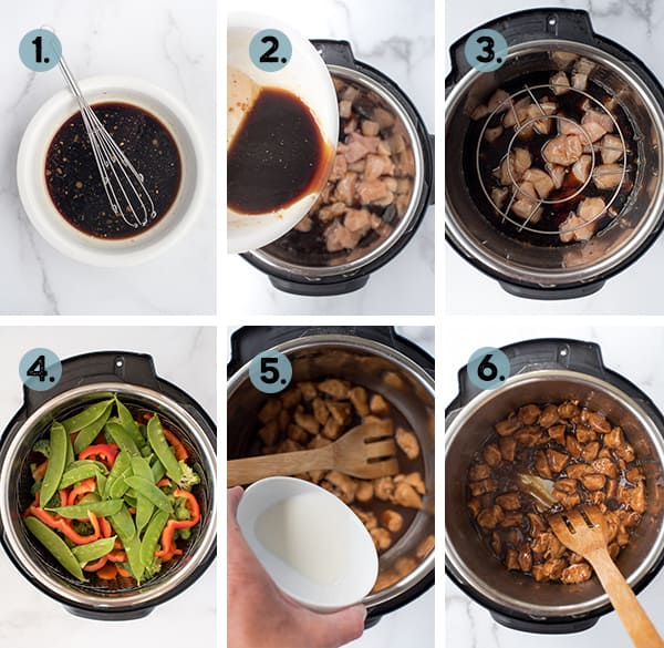 step by step collage of how to make teriyaki chicken in the instant pot