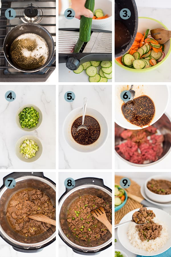 step by step collage of how to make Korean Beef in the Instant Pot