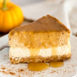 Instant Pot Layered Pumpkin Cheesecake with Maple Glaze