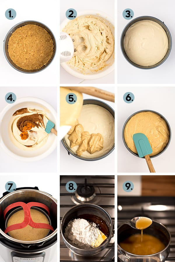 step by step collage of how to make pumpkin cheesecake in the instant pot