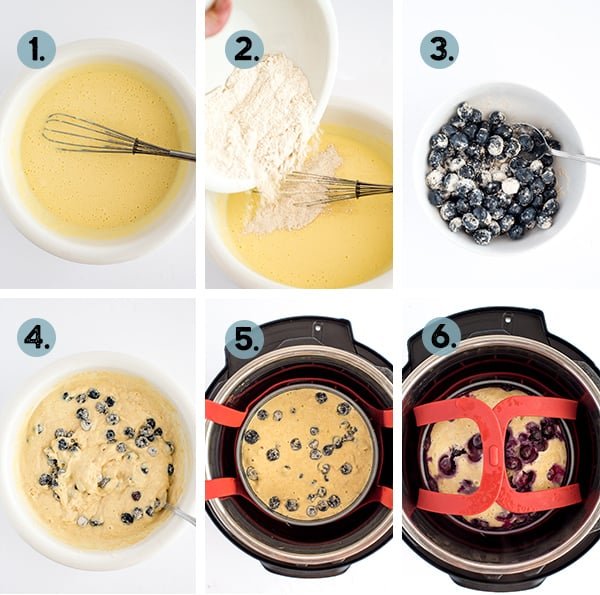step by step collage of how to make a blueberry cake in the instant pot