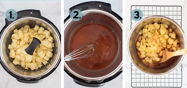 step by step collage of how to make cinnamon apples in the Instant Pot
