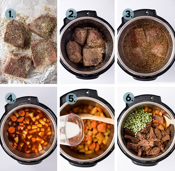 step by step collage of how to make beef stew in the instant pot