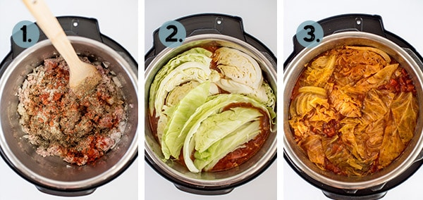 step by step collage of how to make cabbage roll soup in the instant pot