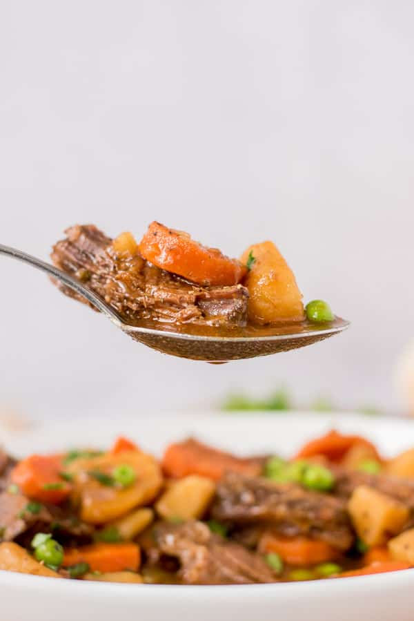 spoon full of beef stew over a bowl of stew