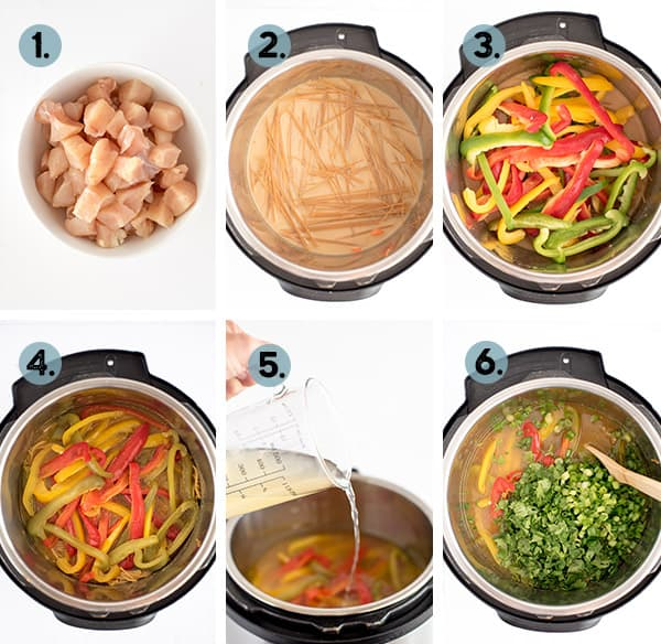 step by step collage of how to make thai soup in the instant pot