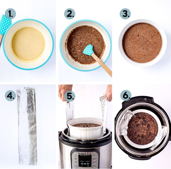 step by step collage of how to make chocolate oatmeal in the Instant Pot