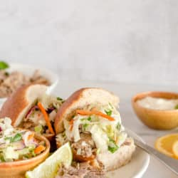 Instant Pot Pulled Pork Sandwich with Slaw and Lime Aioli