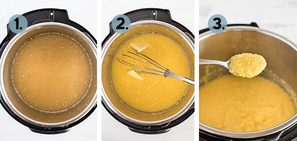 step by step collage of how to make polenta in the Instant Pot