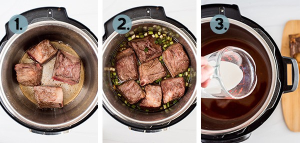 step by step collage of how to make short ribs in the Instant Pot