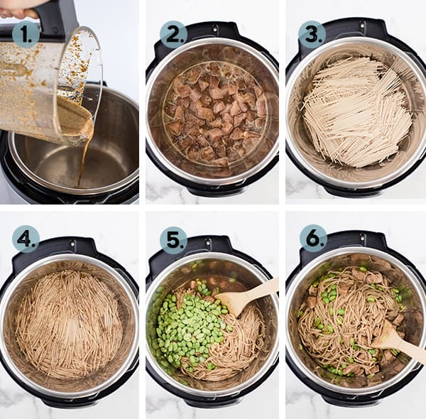 step by step collage of how to make black pepper noodles in the insant pot