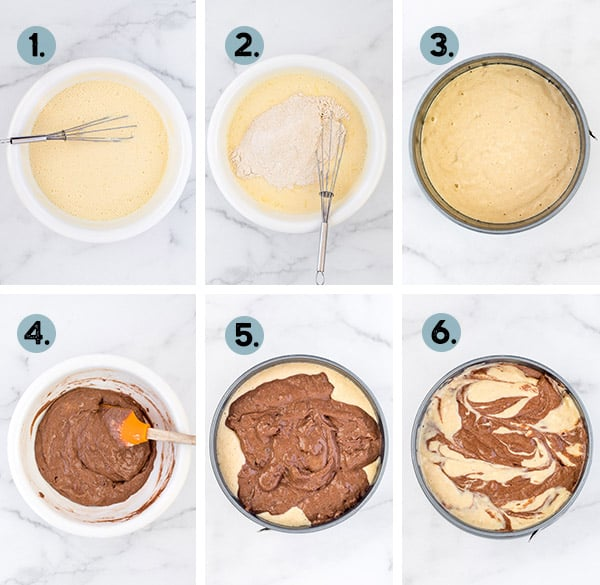 step by step collage of how to make a chocolate breakfast cake in the instant pot