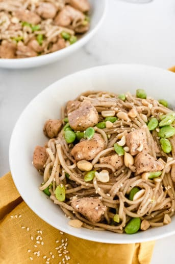 White bowl of noodles, chicken, and edamame with peanuts on top