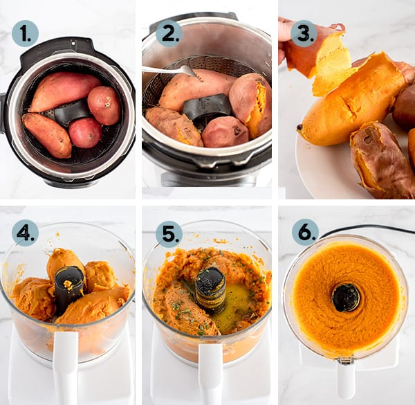 step by step collage of how to make mashed sweet potatoes in the instant pot