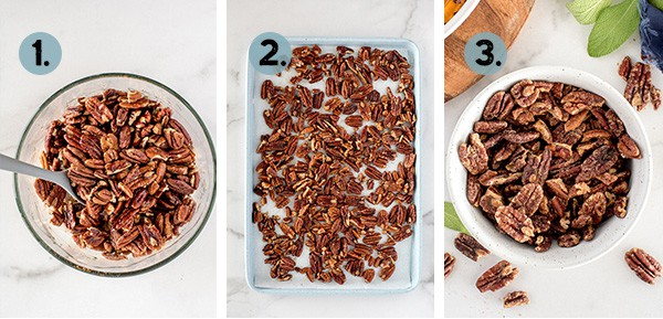 step by step collage of how to make sweet and spicy pecans