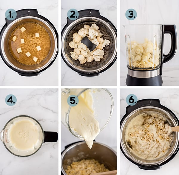 step by step collage of how to mac cauliflower mac and cheese in the instant pot