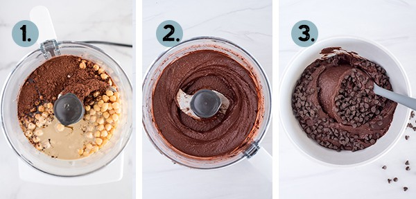 step by step collage of how to make chocolate hummus in the food processor