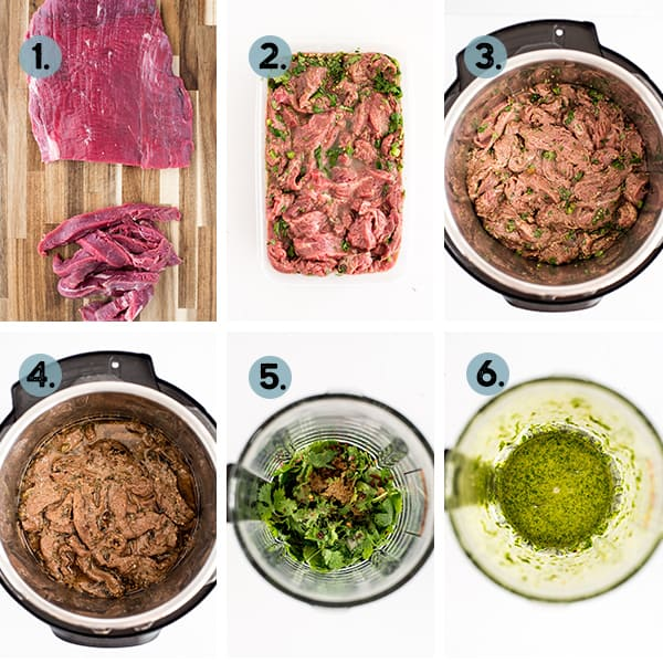 step by step collage of how to make instant pot steak tacos