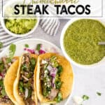 steak taco with a side of chimichurri sauce topped and guacamole