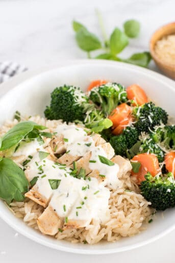 white plate with chicken, broccoli, and carrots with cheese sauce