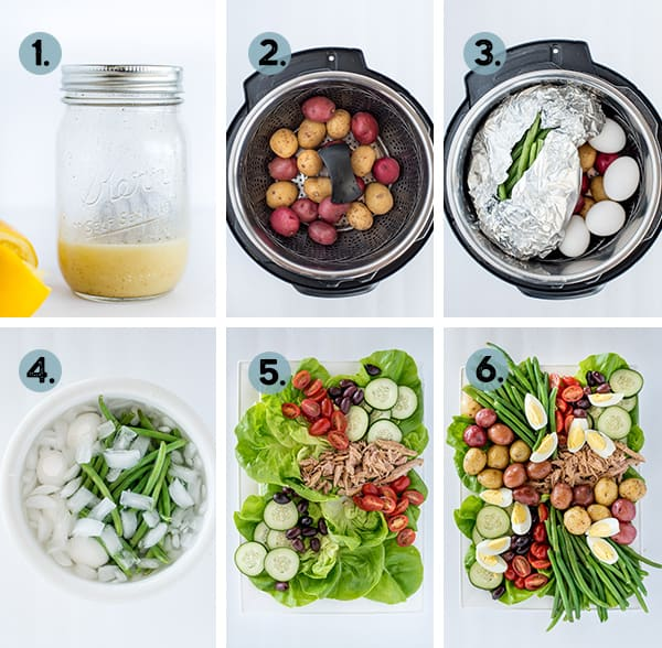 step by step collage of how to make nicoise salad in the Instant Pot