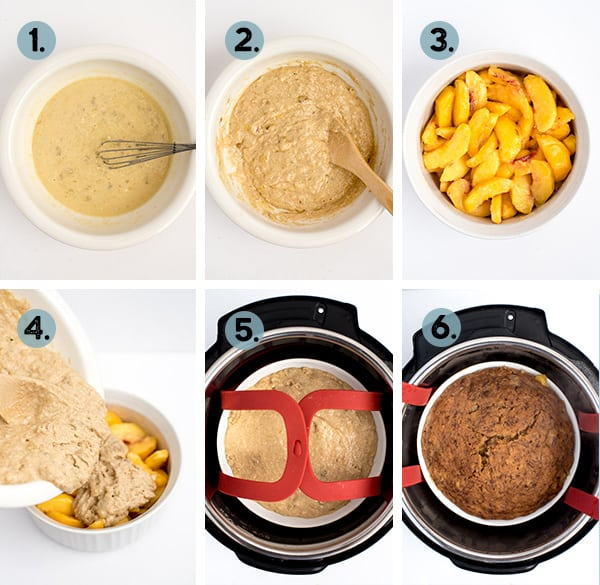step by step collage of how to make breakfast peach cobbler in the Instant Pot