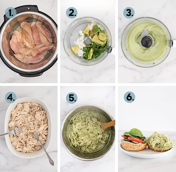 step by step collage of how to make Instant Pot Green Goddess Chicken Sandwich