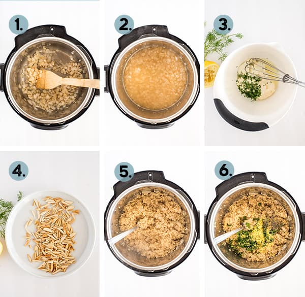 step by step collage of how to make lemon quinoa in the Instant Pot
