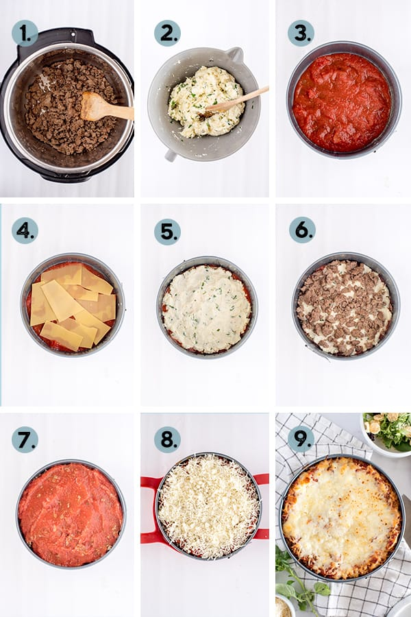 step by step collage of how to make lasagna in the Instant Pot